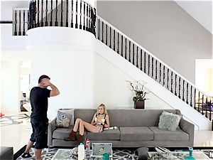 wild Alexa grace gets her minge jammed after getting caught in Chads mansion
