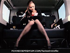 nailed IN TRAFFIC - Footjob and car romp with Tina Kay