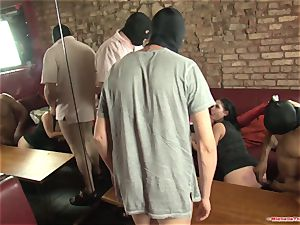 Michelle Thorne and young whore gang-bang shag with group
