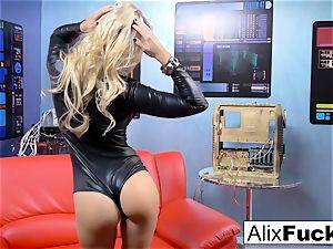 blond stunner Alix Lynx deep-throats off the camera guy