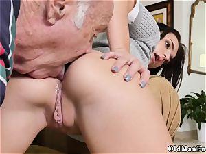 dark-haired hardcore riding the older dick!