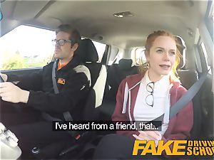 fake Driving school ultra-cute red-haired Ella Hughes bangs