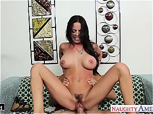 buxom Brandy Aniston takes fuckpole in her moist cooch