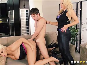 Nikki Benz and Bridgette B get sloppy with the security stud