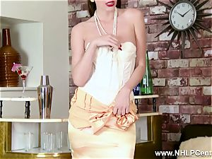 luxurious brunette takes off to retro nylons high-heeled slippers and underwear