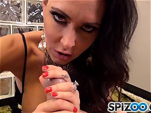 Jessica Jaymes getting her face coat in goo