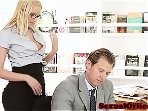 cutie secretary takes her boss' cock for a ride