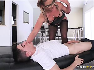 youthful inexperienced college girl gets his manmeat fellated by cruel busty tutor Phoenix Marie