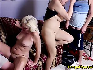 2 women begin, two guys complete with Ms Paris Rose