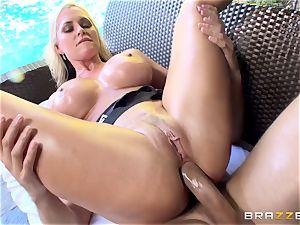 buxom blondie Alena Croft endures an oily rectal boink