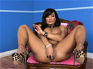 wondrous Lisa Ann inserts her faux-cock deep in her wet beaver