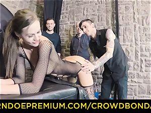 CROWD restrain bondage - extreme bdsm penetrate wheel with Tina Kay