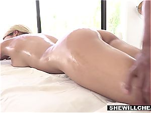huge-titted Latina wife cheats with the endowed ebony massagist