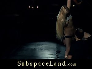 sub woman platinum-blonde pleasured and penalized in conformity