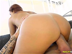 inked muscle slams his trouser snake into insatiable crimson head latina Gala brown