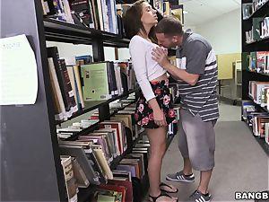 Joseline Kelly plowing in the library