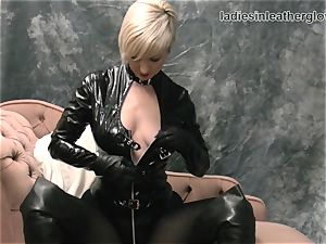 light-haired fumbles leather gloves against ginormous orbs wet labia