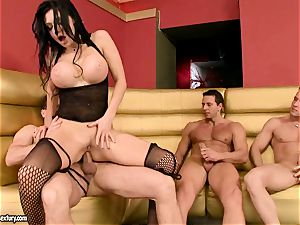 Aletta Ocean gets her tight fuck-holes clogged with large meatpoles antsy to spunk
