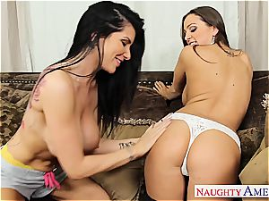 lesbians Abagail Mac and Romi Rain enjoy taut cooch