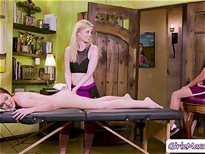 massagist Charlotte Stokely likes eating Brooke Haze and Gabriela Lopez cooter