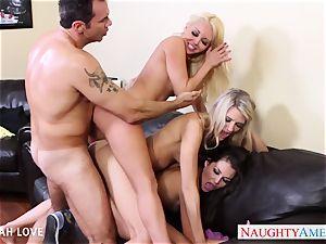splendid Aaliyah enjoy penetrating in foursome
