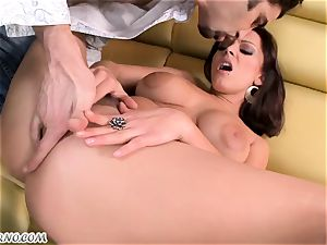 toasted mature girl with a superb humungous knocker prepped for free sex in the bar