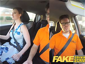 faux Driving college Nerdy redhead teenage college girl