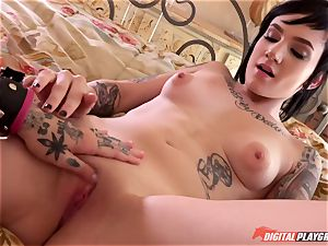 tattooed punk rock women Leigh Raven and Nikki Hearts playing with their fresh fucky-fucky fucktoy