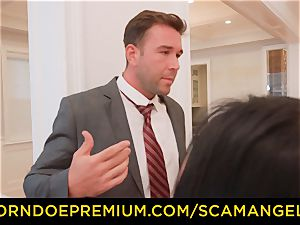 SCAM ANGELS - super hot Melissa Moore penetrated in insane fourway