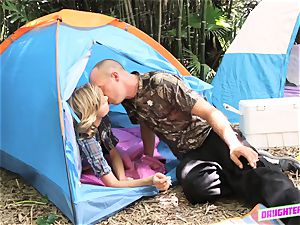 Alyssa Cole and Haley Reed interchange dads on their camping journey