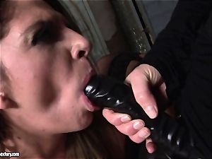 Kathia Nobili lets a steamy nymph deep-throat her string on