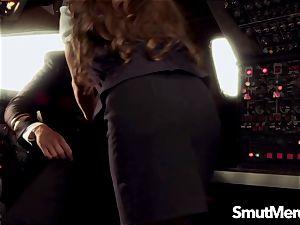 Stewardess Madelyn Marie pummels the Pilot