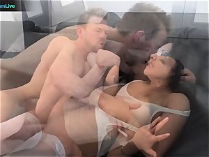 lovable stunner Asa Akira stretching her wide open crevice