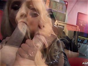blonde babe Alix Lynx fellates off the camerist